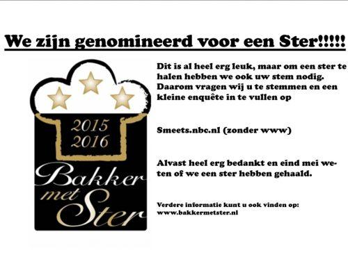 """Genomineerd voor """"Bakker met Ster"""" 2015-2016"""